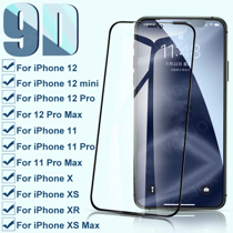 Afbeelding van 9D Full Protective Glass For iPhone 12 mini 12Pro Max Tempered Screen Protector On The iphone 11 Pro XS Max X XR Glass Film Case