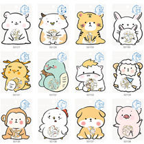 Afbeelding van Korean Import Nekoni The 12 Chinese Zodiacs Stickers Bag Kawaii Animals Scrapbooking Diy Stationery Sticker Diary Decor School