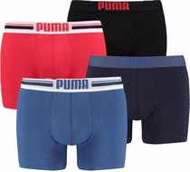 Afbeelding van Puma boxershorts Placed Logo 4-pack Rood/Blauw-XL;