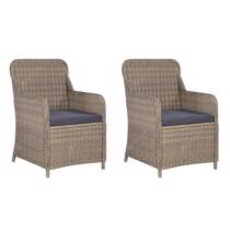Afbeelding van Outdoor Chairs with Cushions 2 pcs Poly Rattan Black