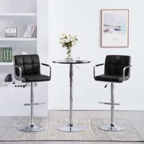Afbeelding van Bar Chairs with Armrests 2 pcs Faux Leather Black