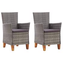 Afbeelding van Garden Chairs 2 pcs with Cushions Poly Rattan Grey