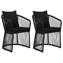 Afbeelding van Garden Chairs 2 pcs with Cushions and Pillows PVC Rattan Black
