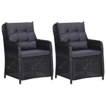 Afbeelding van Garden Chairs 2 pcs with Cushions Poly Rattan Black