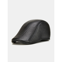 Afbeelding van Collrown Men Genuine Leather Solid Color Casual Fashion Outdoor Forward Hat Beret Hat