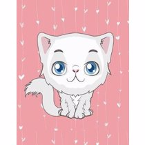 Afbeelding van Notebook: Cute White Cat, Pink & White Hearts Girly Notebook, Large Size - Letter, Wide Ruled